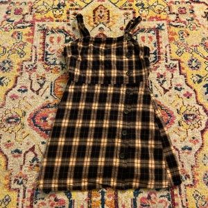 Navy and Cream Plaid Overall Dress